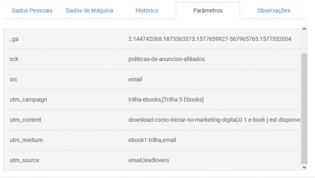 URLs parametrizadas de e-mail marketing
