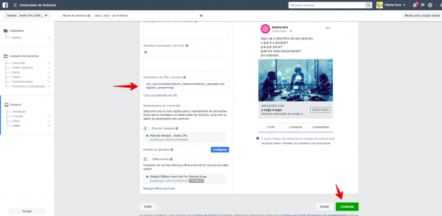 Parâmetros URL Facebook Business